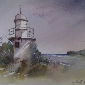 (CreativeWork) FINGAL LIGHT HOUSE, NSW by Anki Wickison. watercolour. Shop online at Bluethumb.