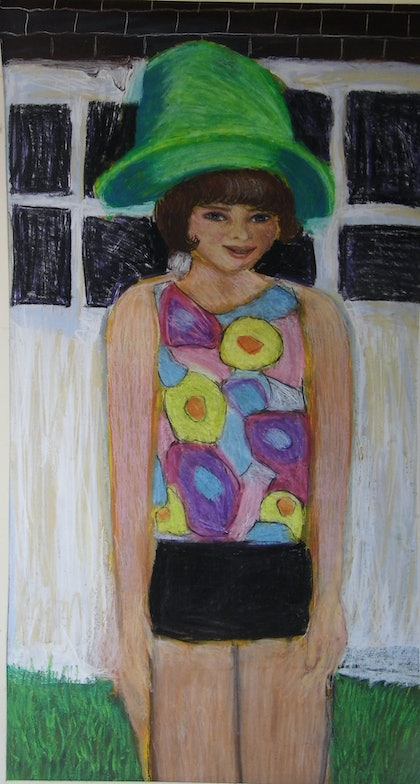 (CreativeWork) Kath's Green Hat by Tory Woollcott. other-media. Shop online at Bluethumb.