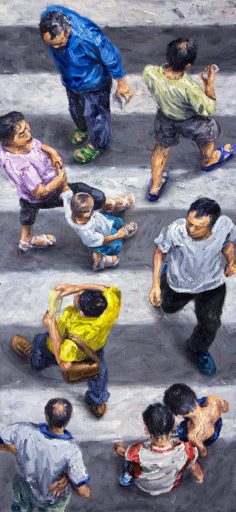 (CreativeWork) Walk-Don't-Walk Chengdu by Steven Makse. oil-painting. Shop online at Bluethumb.