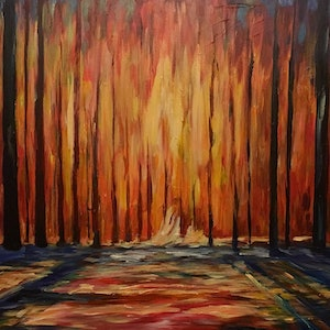 (CreativeWork) Within the Woods by Tony Wu. arcylic-painting. Shop online at Bluethumb.