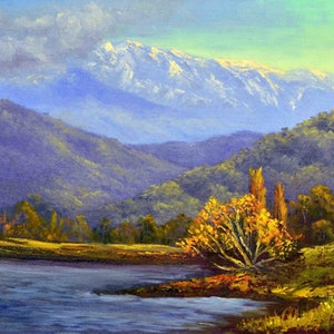 (CreativeWork) Autumn beauty at the Snowy Mountains by Christopher Vidal. oil-painting. Shop online at Bluethumb.