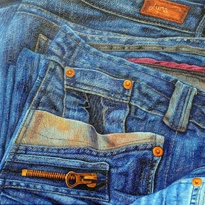 (CreativeWork) Jean Junkie by Luna Vermeulen. oil-painting. Shop online at Bluethumb.