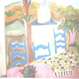 (CreativeWork) ON A GREEK ISLAND by Marie-Thérèse KINSELLA. oil-painting. Shop online at Bluethumb.