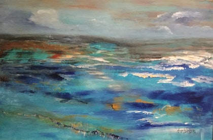 (CreativeWork) The Restless Sea by Angela Halge. arcylic-painting. Shop online at Bluethumb.