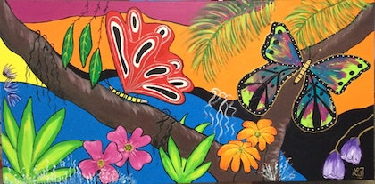 (CreativeWork) Butterfly haven by Linda Jones. arcylic-painting. Shop online at Bluethumb.