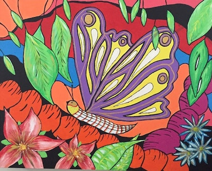 (CreativeWork) Electric butterfly by Linda Jones. arcylic-painting. Shop online at Bluethumb.