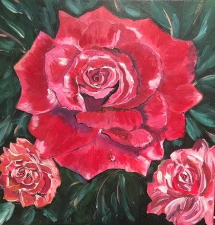 (CreativeWork) The blooms by Angela Halge. arcylic-painting. Shop online at Bluethumb.