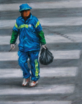 (CreativeWork) Walk-Don't-Walk Shanghai 1 by Steven Makse. Oil Paint. Shop online at Bluethumb.