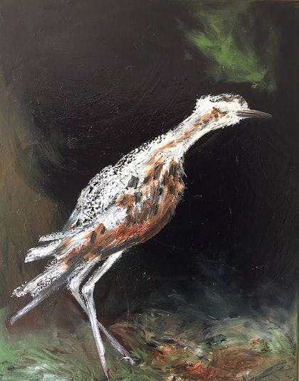 (CreativeWork) Curlew - The Gap by Luella Price. oil-painting. Shop online at Bluethumb.