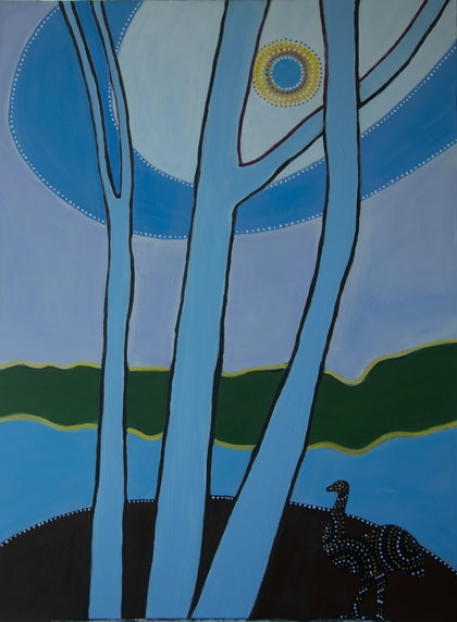 (CreativeWork) Emu in the Sky by Maria Dee. arcylic-painting. Shop online at Bluethumb.