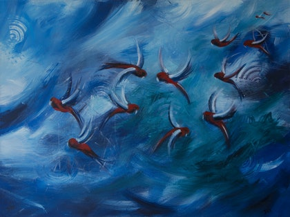 (CreativeWork) Rosella Me Crazy  by Maria Dee. arcylic-painting. Shop online at Bluethumb.