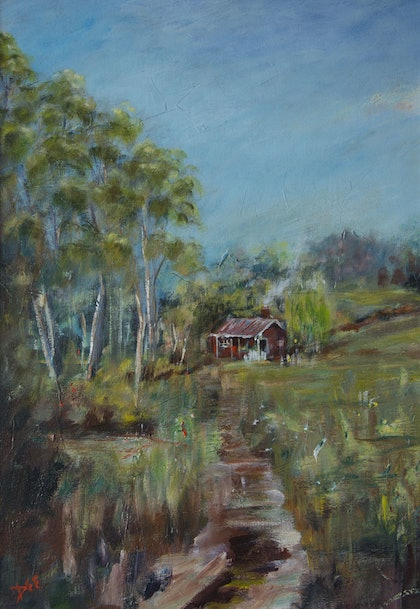 (CreativeWork) Home amongst the gum trees by Maria Dee. oil-painting. Shop online at Bluethumb.