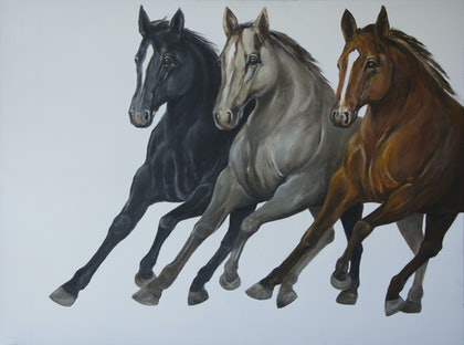 (CreativeWork) Line Dancing by Maria Dee. oil-painting. Shop online at Bluethumb.