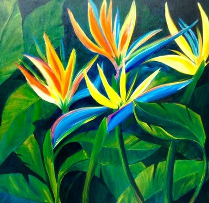 (CreativeWork) A World of Paradise  by Maria Dee. arcylic-painting. Shop online at Bluethumb.