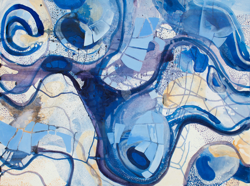 (CreativeWork) Blue River City by Sarah Daly. Acrylic Paint. Shop online at Bluethumb.