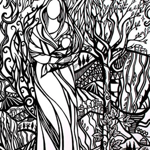 (CreativeWork) In The Arms of Sacred Love by Jennis Ardern. drawing. Shop online at Bluethumb.