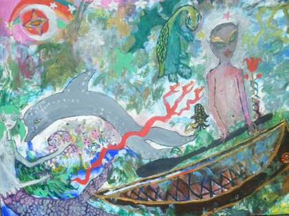 (CreativeWork) islander boy by Louise Tyler. arcylic-painting. Shop online at Bluethumb.