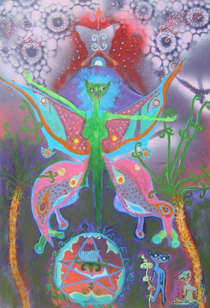 (CreativeWork) pagan faery by Louise Tyler. arcylic-painting. Shop online at Bluethumb.