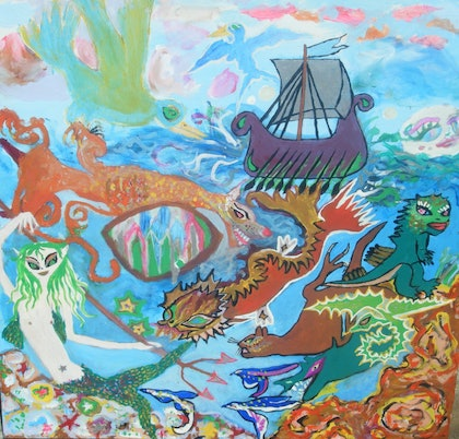 (CreativeWork) wild sea crossing by Louise Tyler. arcylic-painting. Shop online at Bluethumb.