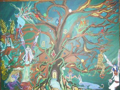 (CreativeWork) faraway tree by Louise Tyler. arcylic-painting. Shop online at Bluethumb.