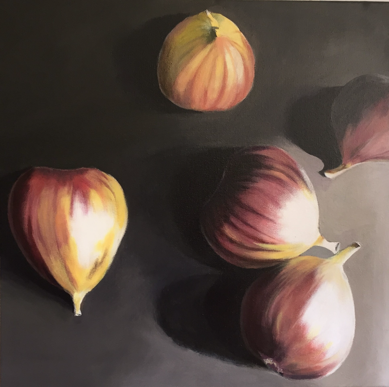 (CreativeWork) Still Life Botanicals - Luscious Figs by Raynette Mitchell. Acrylic Paint. Shop online at Bluethumb.