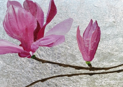 (CreativeWork) Still Life Botanicals - Silver Magnolias  by Raynette Mitchell. arcylic-painting. Shop online at Bluethumb.