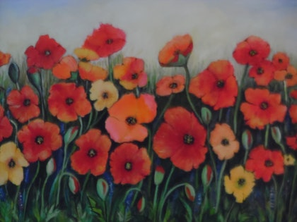 (CreativeWork) Poppies by Mary Cottam. arcylic-painting. Shop online at Bluethumb.