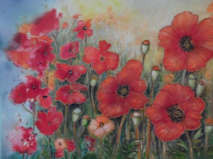 (CreativeWork) Poppies in the field by Mary Cottam. arcylic-painting. Shop online at Bluethumb.
