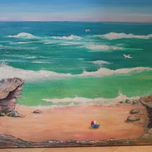 (CreativeWork) Australian Shoreline by Mary Cottam. arcylic-painting. Shop online at Bluethumb.