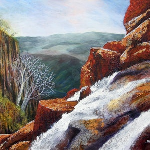 (CreativeWork) Crystal Brook Falls by Jess King. arcylic-painting. Shop online at Bluethumb.