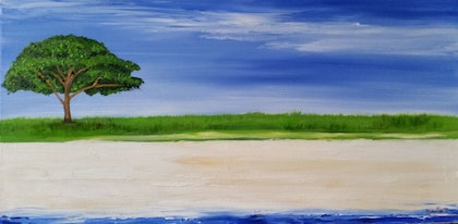 (CreativeWork) One Tree Beach by Narelle Johansson. oil-painting. Shop online at Bluethumb.
