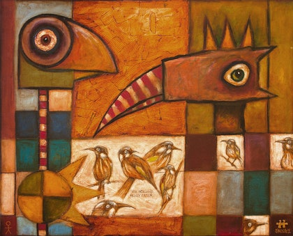 """(CreativeWork) """"Birdland"""" by Leith O'Malley. oil-painting. Shop online at Bluethumb."""