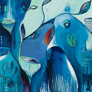 """(CreativeWork) """"Contemplation"""" by Jayne Rolinson. arcylic-painting. Shop online at Bluethumb."""