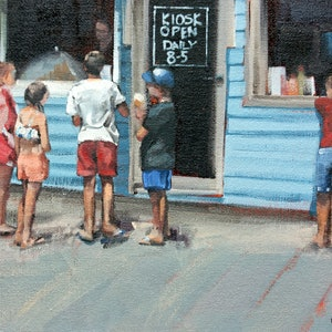 (CreativeWork) Beach Kiosk by Claire McCall. oil-painting. Shop online at Bluethumb.