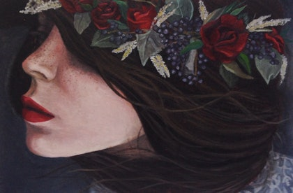 (CreativeWork) The Scarlett Bloom by Katie Nelson. oil-painting. Shop online at Bluethumb.