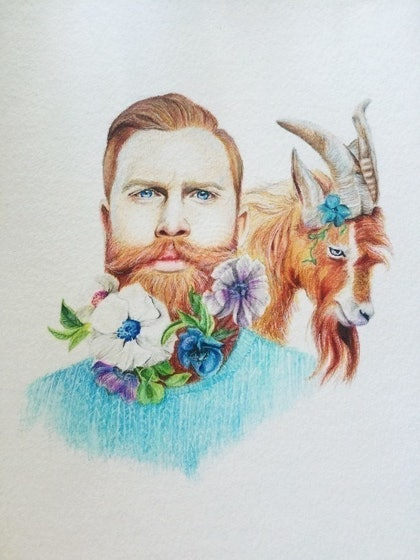 (CreativeWork) Gwilym and Thistle by Katie Nelson. drawing. Shop online at Bluethumb.