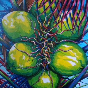 (CreativeWork) UNRIPE COCONUTS by RAYNA HARRIETT. arcylic-painting. Shop online at Bluethumb.
