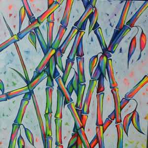 (CreativeWork) BAMBOO BLISS I & II by RAYNA HARRIETT. arcylic-painting. Shop online at Bluethumb.