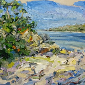 (CreativeWork) Swan River: plein air by Steven Makse. oil-painting. Shop online at Bluethumb.