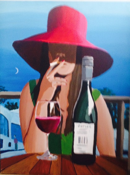 (CreativeWork) Home and Wine by Tim Bligh. arcylic-painting. Shop online at Bluethumb.