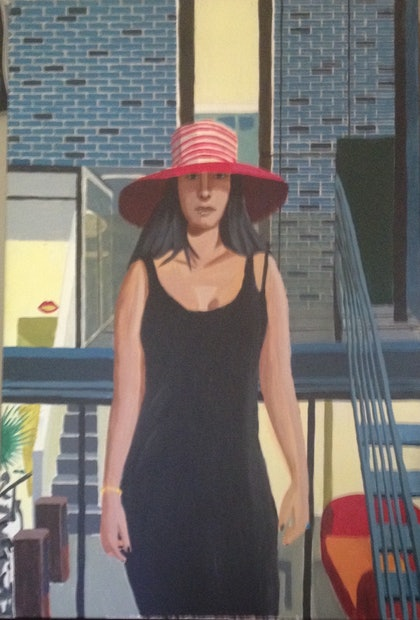 (CreativeWork) Girl at Party by Tim Bligh. arcylic-painting. Shop online at Bluethumb.