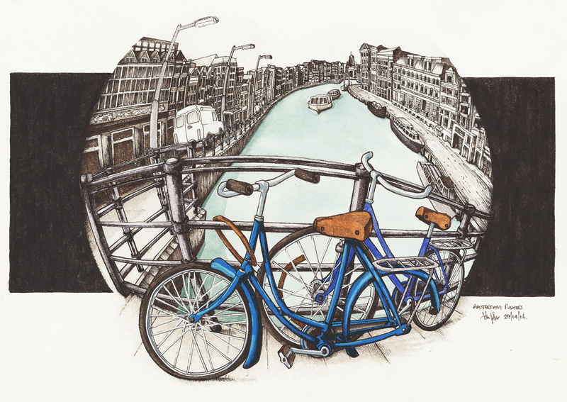 (CreativeWork) Amsterdam Pushers by John Procter. mixed-media. Shop online at Bluethumb.