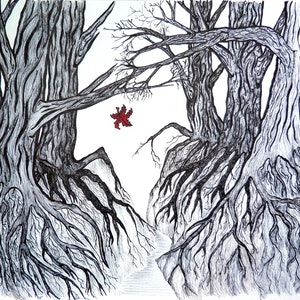 (CreativeWork) The last leaf by Anne van Alkemade. drawing. Shop online at Bluethumb.