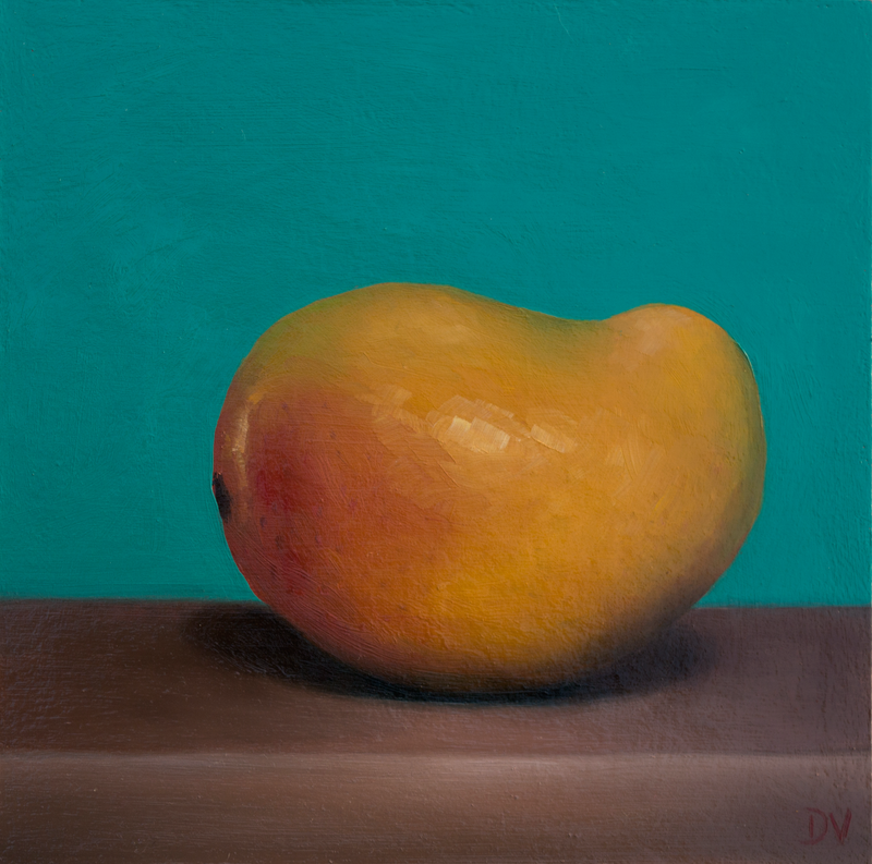 (CreativeWork) Still life Mango by Damien Venditti. oil-painting. Shop online at Bluethumb.