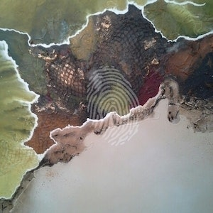 (CreativeWork) Where in the World by Tracey Haustead. mixed-media. Shop online at Bluethumb.