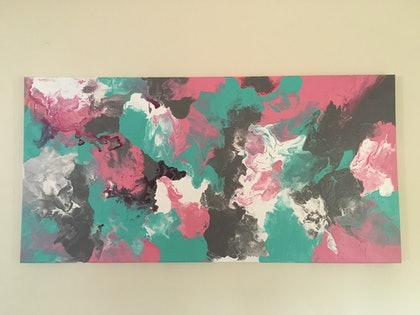(CreativeWork) Mint pink by Erica Ruby. arcylic-painting. Shop online at Bluethumb.