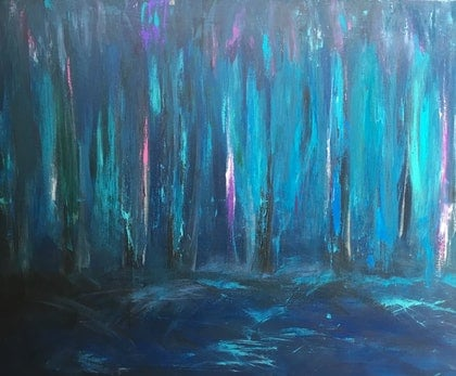 (CreativeWork) Trees by night by Lisa Anderson. mixed-media. Shop online at Bluethumb.