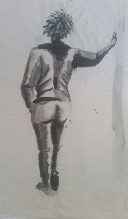 (CreativeWork) Standing Around by Feng Guo. watercolour. Shop online at Bluethumb.