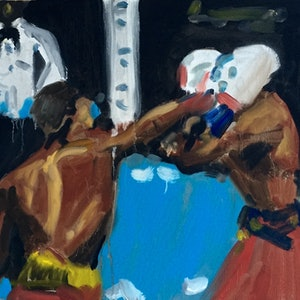(CreativeWork) Keep the Guard up and throw a Straight Right by Stephen Tiernan. oil-painting. Shop online at Bluethumb.