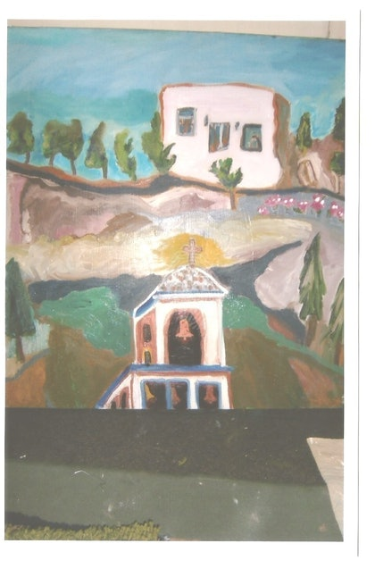(CreativeWork) THE PINK HOUSE by Marie-Thérèse KINSELLA. oil-painting. Shop online at Bluethumb.